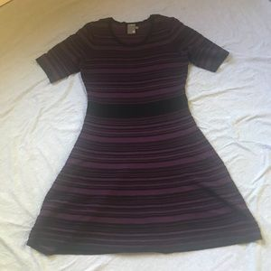 Taylor Striped Fit and Flare Sweater Dress